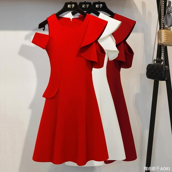 妃子 紅色洋裝女新款夏收腰顯瘦氣質小個子輕奢赫本禮服裙 青木鋪子