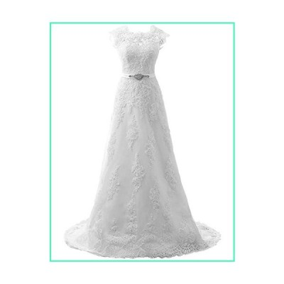 JAEDEN Wedding Dress Lace Bridal Dresses with Crystal Sash Wedding Gown A Line Bride Dress Cap Sleeve White並行輸入品