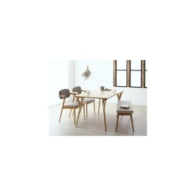 ダイニングテーブルセット 4人用 北欧ナチュラルモダンデザイン天然木ダイニングセット 4点セット テーブル+チェア2脚+ベンチ1脚 W140 5000288207