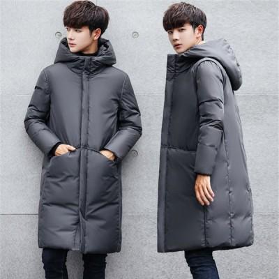 ダウンジャケット メンズ ロング丈 ダウンコード 冬 大きいサイズ トップス フード付き カジュアル 厚手 無地 アウター