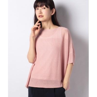 【レリアン】 切り替えシアーセ-タ- レディース ピンク 9 Leilian
