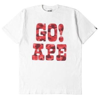 A BATHING APE ア ベイシング エイプ Tシャツ 00's カラーカモ 猿迷彩 GO! APE ロゴ Tシャツ ホワイト M 【メンズ】【中古】【K2748】