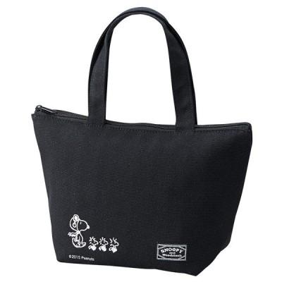 ランチバッグ 保冷トートバッグ スヌーピー ブラックデザイン ファスナー付き ( お弁当バッグ クーラーバッグ キャラクター )