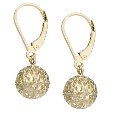 10k Yellow Gold Diamond-cut Pierced Ball Leverback Earrings