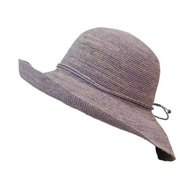 TRAX SHOP 7色 ラフィア帽子 麦わら帽子 レディース UV 折りたたみ つば広 ラフィア ハット ワイヤー 春 夏 春夏 UV 紫