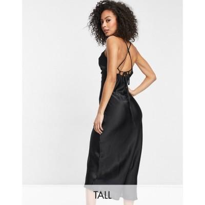 ヴァイオレット ロマンス Violet Romance Tall レディース ワンピース スリップドレス ワンピース・ドレス Satin Slip Dress In Black ブラック