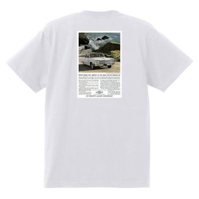アドバタイジング シボレー インパラ 1964 Tシャツ 042 白 アメ車 ホットロッド ローライダー広告 ベルエア ビスケイン