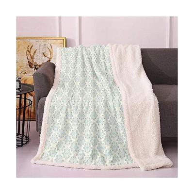 SeptSonne Damask Fleece Blanket,Royal Victorian Floral Motifs with Rococo Details Revival Nostalgia Pattern Flannel Bed Blankets,Bed Cover B