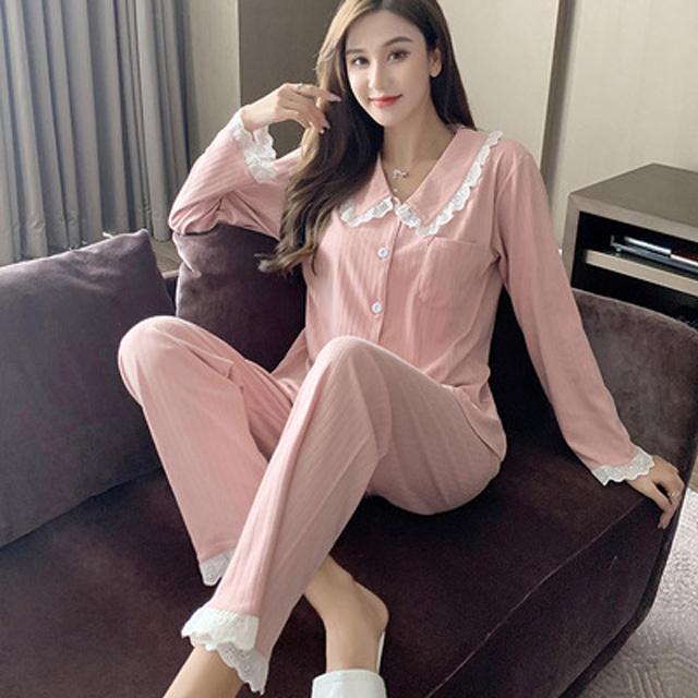 【maggie+】秋冬上市 甜美開襟翻領針織雙層棉質長袖兩件套家居服套裝-粉色