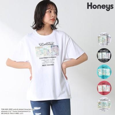トップス Tシャツ 半袖 プリント ヴィンテージ ゆったり カジュアル レディース 春 夏 Honeys ハニーズ トムとジェリーTシャツ