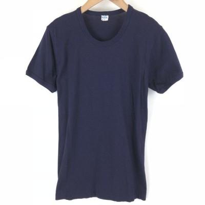 【古着】 ミリタリーTシャツ イタリア軍 無地 ネイビー系 レディースL 【中古】 n006264