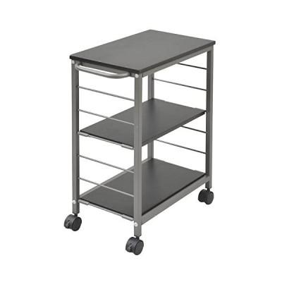 山善 キッチンワゴン 幅30×奥行50×高さ70cm 3段 棚板高さ調節可能 取っ手 ストッパー付きキャスター 手入れしやすい天板(ダークブラウン)