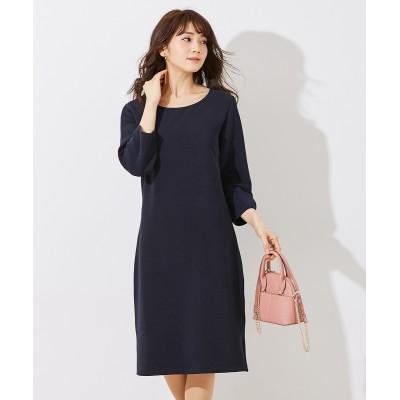 【リップルシリーズ】7分袖サックワンピース(セットアップ対応。上下別売) (ワンピース)Dress