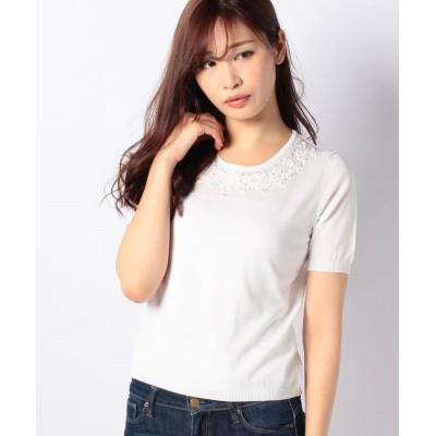 【マダム ジョコンダ】 SONA ビーズ刺繍プルオーバー レディース ホワイト 38 MADAM JOCONDE