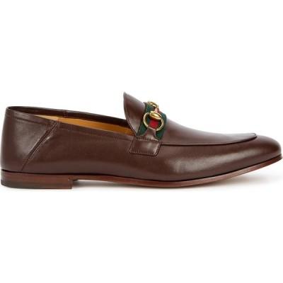 グッチ Gucci メンズ ローファー シューズ・靴 Brown Horsebit Leather Loafers Brown