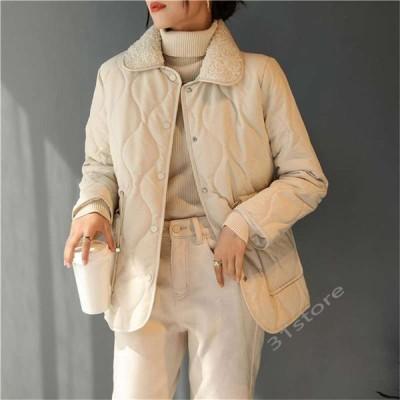 ボアコート中綿コートキルティングコートキルティングジャケットキルティングジャケットレディース40代アウター無地ゆったりポケット