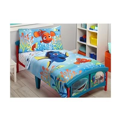 (新品) Disney Finding Dory 4 Piece Toddler Bedding Set, Blue/Orange/Yellow