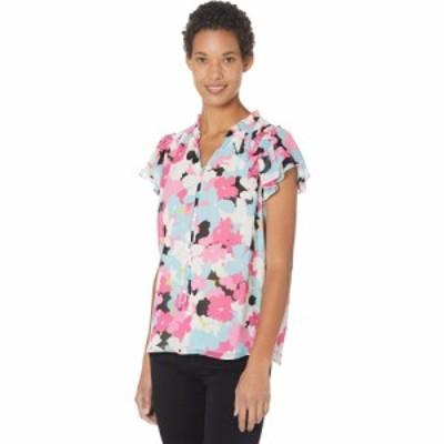 カルバンクライン Calvin Klein レディース ブラウス・シャツ トップス Flutter Sleeve Blouse w/ Smocking Flamingo Multi