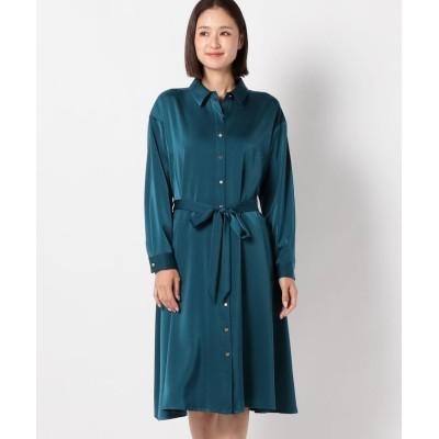 【ミューズ リファインド クローズ】 シャイニーシャツワンピース レディース 青系 M MEW'S REFINED CLOTHES
