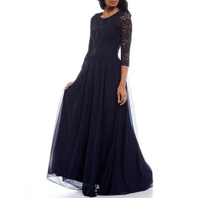ベッツィアンドアダム レディース ワンピース トップス Lace Bodice 3/4 Sleeve Matte Jersey Gown