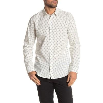 ヴィンス メンズ シャツ トップス Sphere Dot Print Long Sleeve Woven Slim Fit Shirt WHITE/SHIRTING BLUE