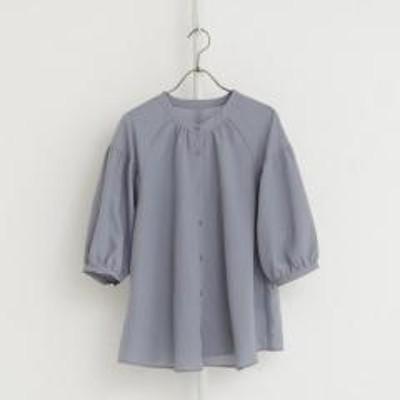 アフタヌーンティーリビングリネンポリブロード5分袖ギャザーブラウス/ブルー/M