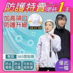【韓國K.W.】加高領口防護升級-獨家獨家訂製款防疫防護外套(面罩可拆)S~XL二款可選
