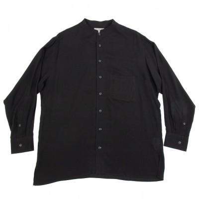 ヨウジヤマモト プールオムYohji Yamamoto POUR HOMME テンセルノーカラーシャツ 黒4 【メンズ】