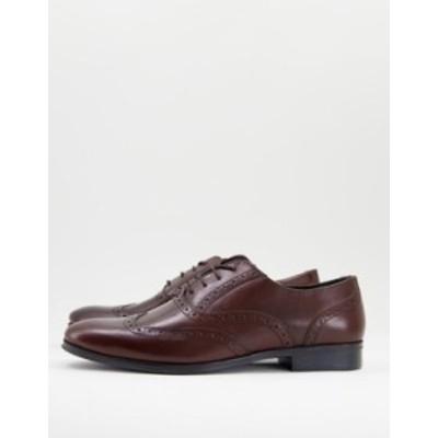 エイソス メンズ スリッポン・ローファー シューズ ASOS DESIGN oxford brogue shoes in brown leather Brown