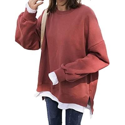 ミニマリ トレーナー レディース ゆったり スウェット tシャツ 長袖 カットソー 無地 トップス 赤 裏起毛(レッド 裏起毛, S)