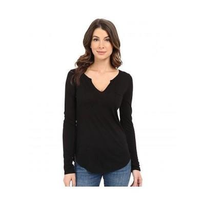 LAmade エルエーメイド レディース 女性用 ファッション Tシャツ L/S Open Henley Tee - Black