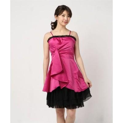 ドレス サテンシフォンフリル重ねティアードパーティードレス