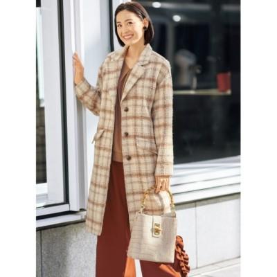 大きいサイズ チェック柄ドロップショルダーチェスターコート(オトナスマイル) ,スマイルランド, コート, plus size coat