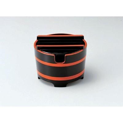 業務用漆器 ABS樹脂 桶型ガリ入れ 黒帯朱(切込有)    10.8φ×8.3cm