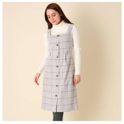 【クチュール ブローチ/Couture brooch】 【手洗い可】チェックジャンパースカート