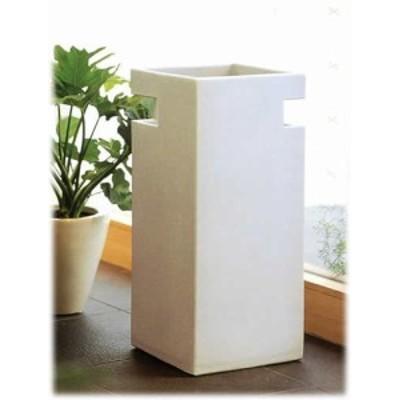 信楽焼 陶器 傘立 洋風 モダン 角 コーナー 白 ホワイト カットホワイト チタンマット釉 高50cm