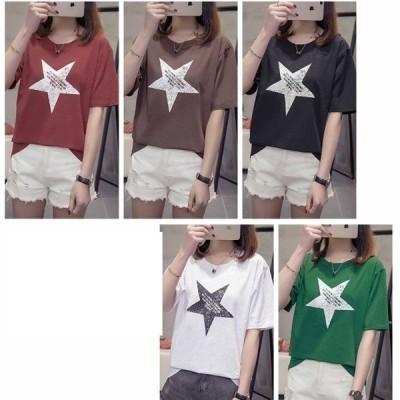 レディース スタープリント 星柄 半袖 ラウンドネック Tシャツ L LL 3L M