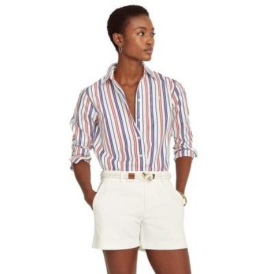 ラルフローレン シャツ トップス レディース Petite Striped Cotton Broadcloth Shirt Red/Blue/White Multi