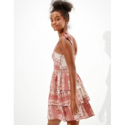 アメリカンイーグル レディース ワンピース トップス AE Printed Smocked Mini Dress Multi