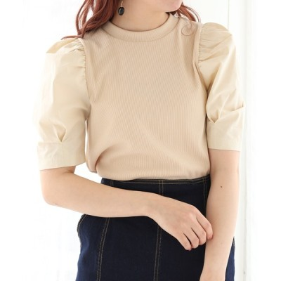 one after another NICE CLAUP / 【Web限定】袖コンシャステレコプルオーバー WOMEN トップス > Tシャツ/カットソー