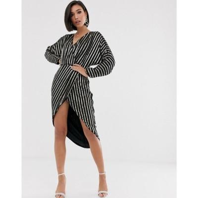 エイソス ASOS DESIGN レディース ワンピース ミドル丈 ワンピース・ドレス stripe embellished midi dress with batwing sleeve ブラック/ゴールド