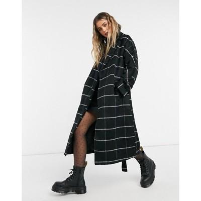 ニュールック レディース コート アウター New Look belted maxi coat in black window check