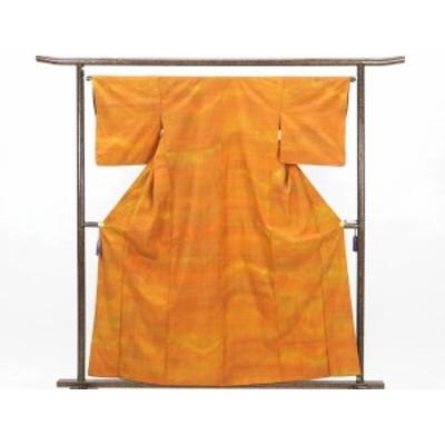 【中古】リサイクル紬 / 正絹オレンジぼかし袷紬着物 /レディース (古着 中古 紬 リサイクル品)