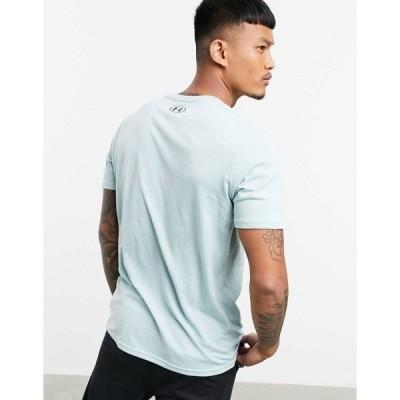 アンダーアーマー メンズ Tシャツ トップス Under Armour large central logo t-shirt in blue Blues
