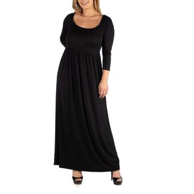 24セブンコンフォート ワンピース トップス レディース Long Sleeve Pleated Maxi Plus Size Dress Black