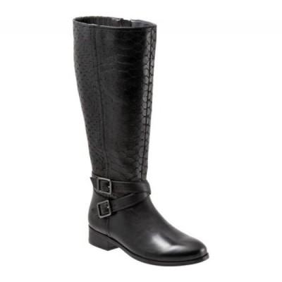 トロッターズ Trotters レディース ブーツ ロングブーツ シューズ・靴 Liberty Knee High Boot Black Burnished Leather/Embossed Anaconda