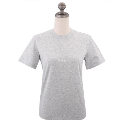 MSGM エムエスジーエム ロゴプリント Tシャツ MDM100 MICRO LOGO T-SHIRT レディース クルーネック 丸首 半袖Tシャツ GREY グレー XS-M