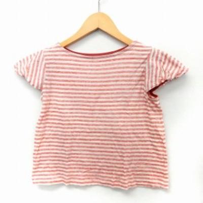 【中古】アトリエドゥサボン l'atelier du savon カットソー Tシャツ 半袖 ボーダー ボートネック コットン F ピンク