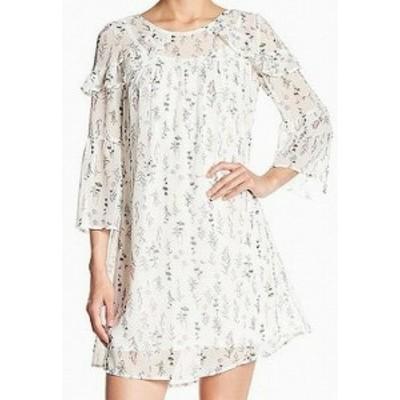 spirit スピリット ファッション ドレス Spirit of Grace Womens Floral Print Chiffon WhiteLarge L Shift Dress
