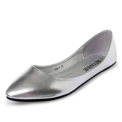 チェリーレッド レディース 婦人靴 美脚 パンプス バレエシューズ ぺたんこ シンプル 41 シルバー